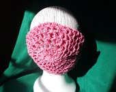 Hair Net Snood Rose Pink Cotton Thread Crocheted in Vintage Net Pattern