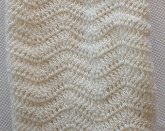 Ready to Ship Soft and Cozy Cream wave Baby Blanket - Beautiful and Luxuriously Handcrafted CROCHET Blanket