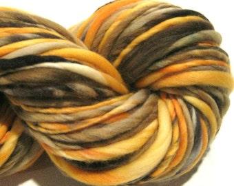Handspun Yarn, Mighty Oak, 120 yards, hand dyed merino wool, orange yarn, brown yarn gold yarn  waldorf doll hair, knitting supplies,crochet