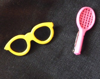 Vintage Plastic Pins, Pin Collection, Plastiv Pins, Tennis Racket Pin, Sunglasses Pin, Clothing Accessory, One Owner, Vintage Jewelry,Unique