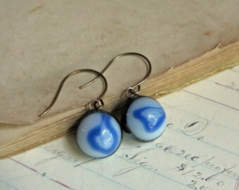 Glass Marble Blue Earrings Unique Jewelry