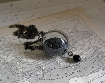 Black Glass Bead Orb Necklace with Vintage Black Faceted Bead Crystal Ball Jewelry