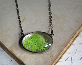 Natural Jewelry, Moss Necklace, Stained Glass Jewelry
