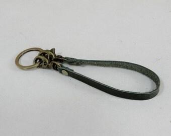 Green Leather Key Lanyard Leather Keyring Key Holder Leather Keychain
