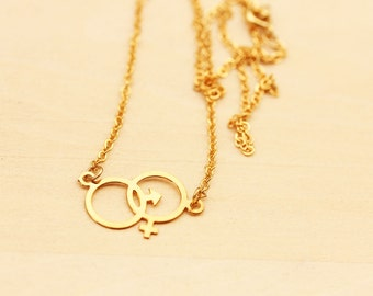 Sex Symbol Necklace, Female Symbol Necklace, The Future Is Female Necklace, Nasty Woman Necklace, Vintage Charm Necklace, Gold Chain