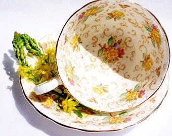 Victoria C&E Bone China English Rose Chintz Yellow