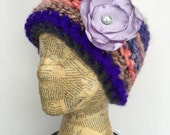 Crocheted Beanie Hat in Beige and Cream with Removable Flower Pin