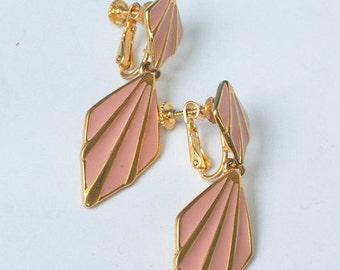 CIJ Sale Pink Enameled Napier Earrings Dangle Adjustable Clip Back Vintage