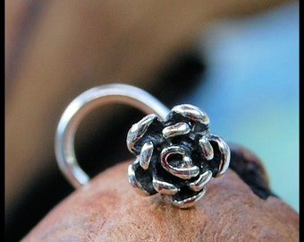 Silver Rose Flower Nose Stud / 22G / 20G / 18G  Nose Ring /  Unique Nose Jewelry / Silver Nose Ring / Rock Your Nose- Customize