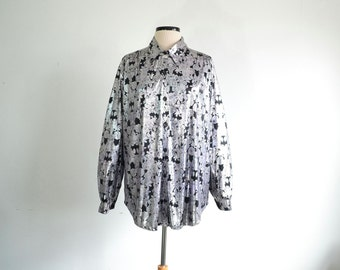 80s Vintage Oversize Shirt Blouse Liquid Silver Floral Print Slouchy Glam - extra large