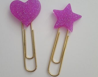 Purple Glittery Resin Paperclips
