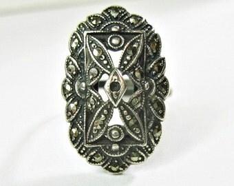 Antique 1920s Art Deco Era Marcasite Ring - Sterling Silver - Adjustable