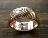 Wide Finger Print Wedding Band in 14K Rose Gold with Custom Initials & Date Engraving Size 8 - RESERVED for Shannon