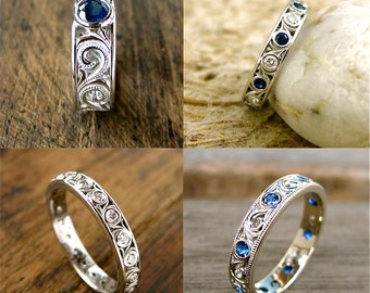 Order Your Custom Made Wedding or Anniversary Ring with Blue Sapphires and Scroll Work Here - Deposit Only