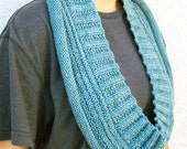 SALE 30% OFF - Infinity Scarf, Long Cowl, Cashmere Merino Wool, Dusty Aqua Blue, Hand Knit