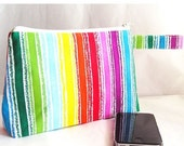 SALE 30% OFF - Cosmetics Bag, Knitting Notions Zipper Pouch, Project Bag, Bright Rainbow Stripes Multi Color