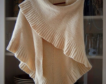 Lallybroch Ruffle Triangle Shawl Custom Hand Knit, 6 Color Options, Made to Order, Outlander