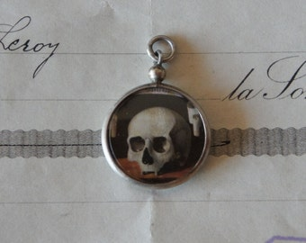 Antique French Skull Memento Mori All Seeing Eye Hand Picture Amulet Pendant