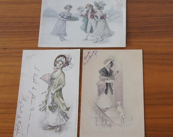 Set of Three Romantic Pen and Ink Style Post cards from Circa 1900, French, German