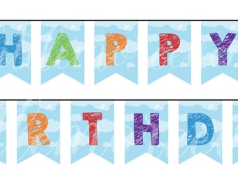 "Pixar's Up Themed ""Happy Birthday"" Bunting Banner"