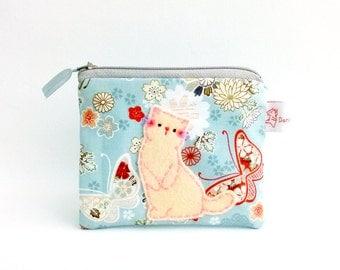 Cat Purse, Cat Coin Purse, Coin Purse, Cat Wallet, Cat Zipper Pouch, Japanese Cotton, Cat Pouch, Butterflies, Blue - Gift For Her