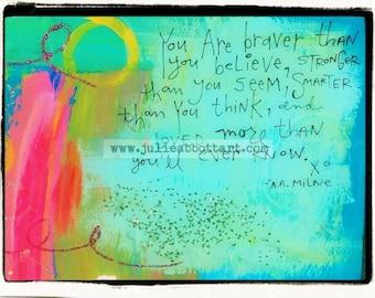 "Winnie The Pooh Quote- New!  ""Mini-s"" by Julie Abbott Art"