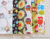 S030 Fabric Scraps Bundle Set - Hoot Owl Collection White Colorful Floral Geometry Owls (6PCS, 9x9 Inches)