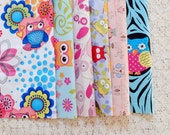 S099 Fabric Scraps Bundle Set - Hoot Owl Collection Pink Blue Daisy Floral Geometry Tree Hollow Owls (6PCS, 9x9 Inches)