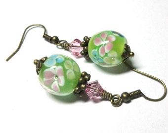 Earrings, Lampwork Pink, Green, Swarovski Crystals, Brass, Wedding Jewelry, Bridal Gift, Spiritcatdesigns