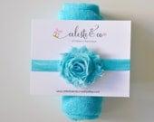Baby Headband - Newborn Baby Wrap Set - Shabby Chic Aquamarine Aqua Baby Swaddle Wrap - Newborn Girl Headband - Baby Girl Headband, Blanket