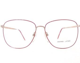 BIG NOS Vtg 80s Metal Glasses Golden & Burgundy Red Round/Square Preppy Windsor Frame Disco MOD Eyeglasses BugEye Sunglass 57mm 15mm 140mm