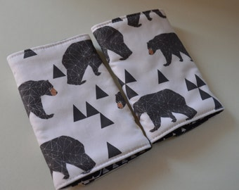 Reversible Bear and Triangle Baby Carrier Drool Pads - Baby Carrier Drool Pads - Fits most Carriers - Ready to Ship