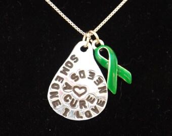 Green awareness ribbon necklace, Celiac Awareness jewelry, Kidney Disease Jewelry, Green Awareness Ribbon jewelry, Cerebral Palsy Awareness