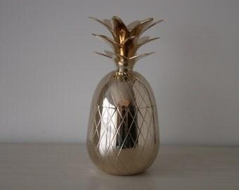 "ON SALE Vintage 10"" Brass Lidded Pineapple Box Hollywood Regency Style"