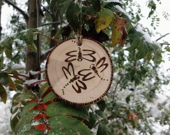 Salvaged Birch Ornaments, Wood Burned Dragonfly Ornaments, Rustic Christmas Tree Ornaments,Custom Ornaments, Personalized Ornaments