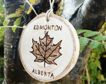 Custom Maple Leaf Ornament, Canada Birch Ornament, Wood Burned Maple Leaf Ornament
