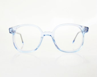 1960s Horn Rim Glasses Teens Girls Childrens Eyeglasses Blue Ice Baby Pastel Clear 60s Sixties Optical Frames Deadstock NOS New Old Stock