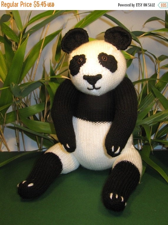 HALF PRICE SALE Instant Digital File Pdf Download Panda Bear Toy pdf knitting pattern