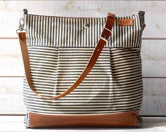 BEST SELLER Diaper bag / Messenger bag WAXED Stockholm Gray  geometric nautical striped  Leather / Ikabags Featured on The Martha Stewart F1