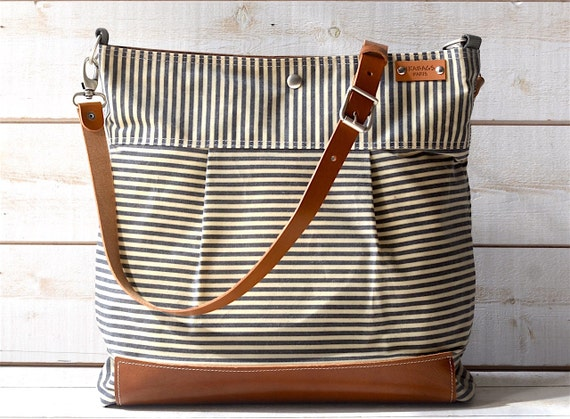 Best seller Diaper bag / Messenger bag Waxed canvas bag Stockholm Gray  geometric nautical striped  Leather - new year gift