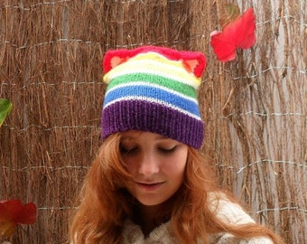 Mad Hat SALE 60% Off - Rainbow Beanie With Cat Ears- Hand Knitted Hat