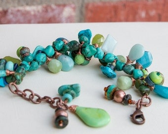 Turquoise Charm Copper Chain Bracelet Handmade Jewelry