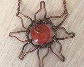 Handmade Wire Wrapped Copper Sun Pendant with Orange Agate Center