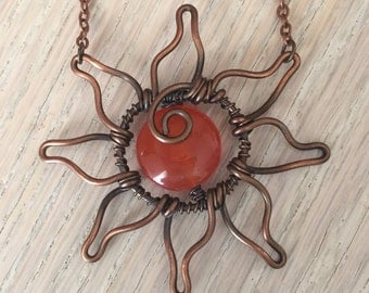 Handmade Wire Wrapped Copper Sun Pendant with Orange Agate Center