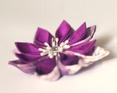 Purple hair flower, silk, cotton, bridal, wedding, Japanese, fascinator, kanzashi, hairpiece, hairbow, orchid, UK, handmade