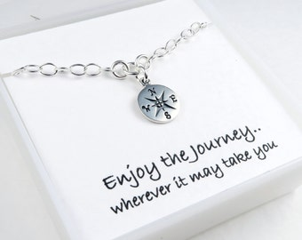 Silver Compass Bracelet, Graduation gift, Message Card, Sterling Silver, Travel jewelry, Good Luck