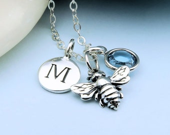 Silver Bee Necklace personalized with initial and custom birthstone, honey bee necklace