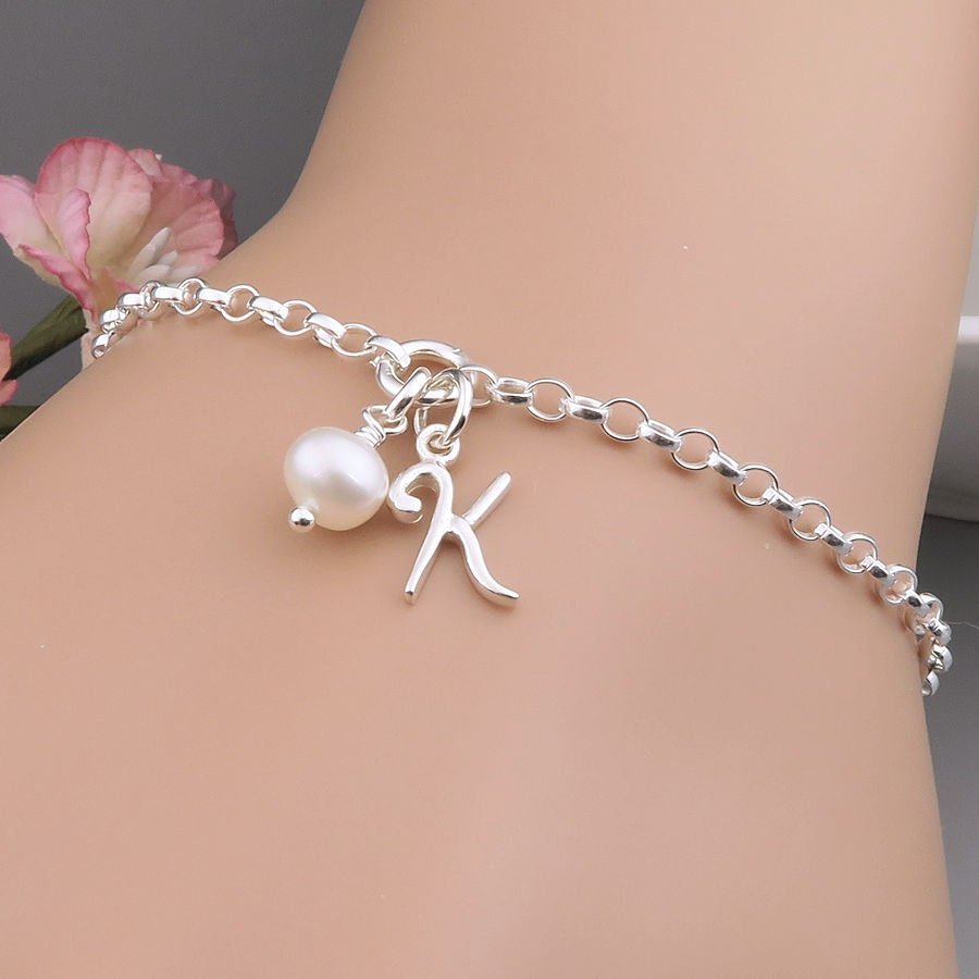Initial Charm Bracelets: Initial Bracelet Sterling Silver Personalized Charm