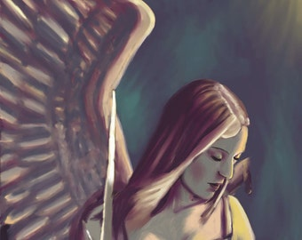 Digital Painting Print Battle wound, one winged angel