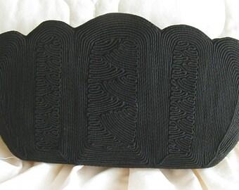 Black Corde Clutch Purse 1940s